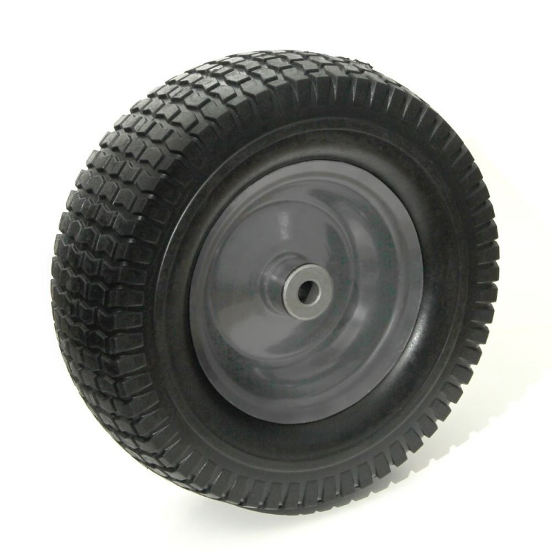 Flat-Free Wheel & PU Tire Assembly, 12'' Steel Rim